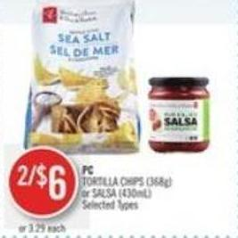 PC Tortilla Chips (368g) or Salsa (430ml)