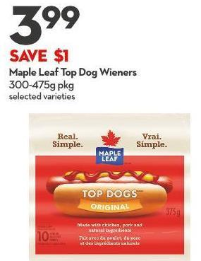 Maple Leaf Top Dog Wieners 300-475g Pkg