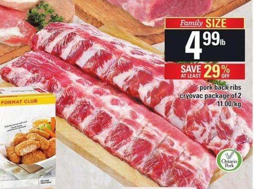 Pork Back Ribs - Cryovac Package of 2