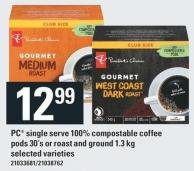 PC Single Serve 100% Compostable Coffee PODS 30's Or Roast And Ground 1.3 Kg
