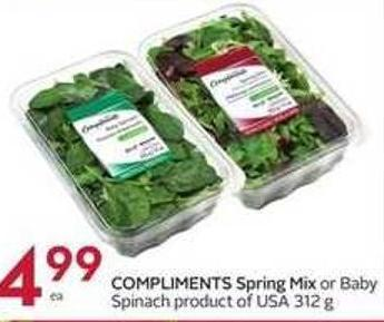 Compliments Spring Mix or Baby Spinach