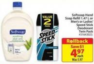 Softsoap Hand Soap Refill 1.47 L or Men's or Ladies' Speed Stick Deodorant Twin Pack