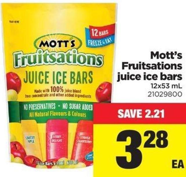 Mott's Fruitsations Juice Ice Bars 12x53 Ml