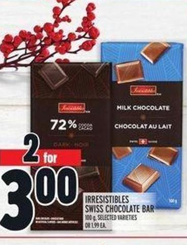 Irresistibles Swiss Chocolate Bar