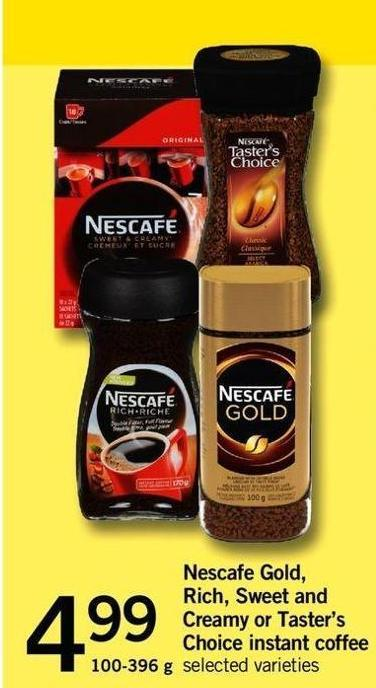 Nescafé Gold - Rich - Sweet And Creamy Or Taster's Choice Instant Coffee - 100-396 G