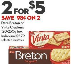 Dare Breton or Vinta Crackers 120-250g Box
