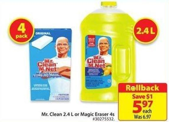 Mr. Clean 2.4 L or Magic Eraser 4s
