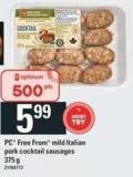 PC Free From Mild Italian Pork Cocktail Sausages
