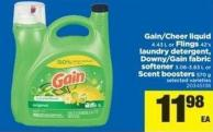 Gain/cheer Liquid 4.43 L Or Flings 42's Laundry Detergent - Downy/gain Fabric Softener 3.06-3.83 L Or Scent Boosters 570 G