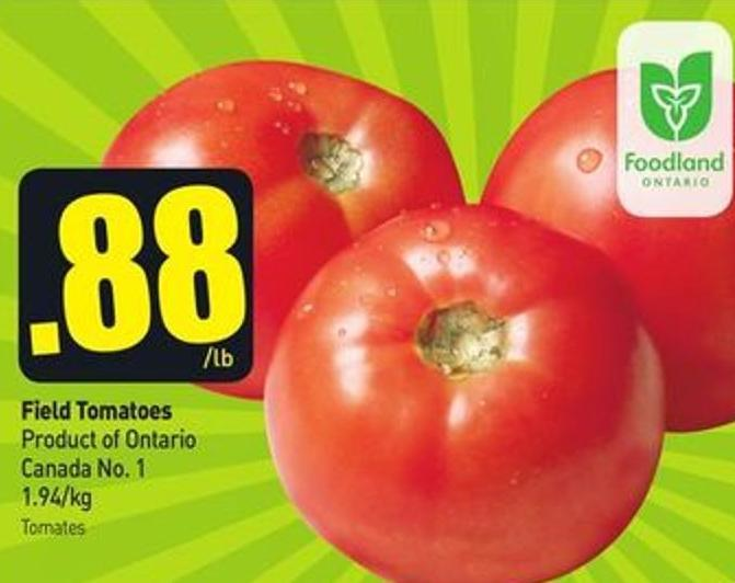 Field Tomatoes Product of Ontario Canada No. 1 1.94/kg