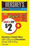Hershey's Family Bars 100-120 g or Chocolates 10 Pk 150-170 g