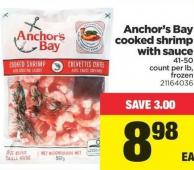 Anchor's Bay Cooked Shrimp With Sauce - 41-50 Count Per Lb