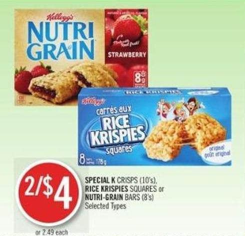 Special K Crisps (10's) - Rice Krispies Squares or Nutri-grain Bars (8's)