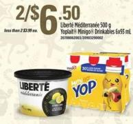 Liberte Mediterranee 500 g - Yoplait Minigo Drinkables 6x93 mL