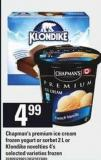 Chapman's Premium Ice Cream - Frozen Yogurt Or Sorbet - 2 L Or Klondike Novelties - 4's