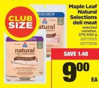 Maple Leaf Natural Selections Deli Meat - 375/400g