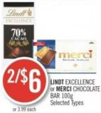 Lindt Excellence or Merci Chocolate Bar 100g