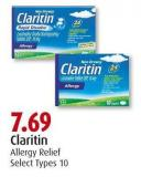 Claritin Allergy Relief Select Types 10