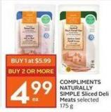 Compliments Naturally Simple Sliced Deli Meats Selected 175 g
