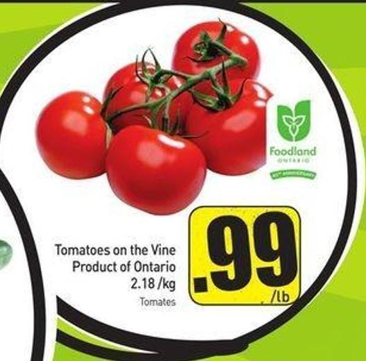 Tomatoes On The Vine Product of Ontario 2.18 /Kg