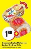 Dempster's English Muffins 6 Pk Berliner Rye Bread 454 g