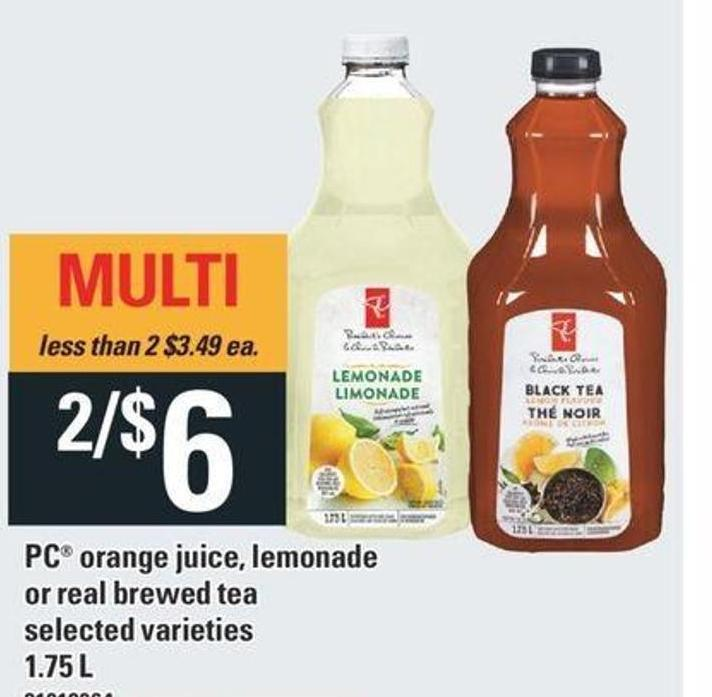 PC Orange Juice - Lemonade Or Real Brewed Tea - 1.75 L