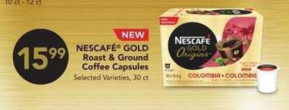 Nescafé Gold Roast & Ground Coffee Capsules - 30 Ct