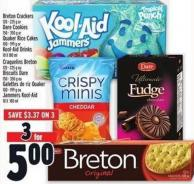 Breton Crackers 120 - 225 G Or Dare Cookies 150 - 350 G Or Quaker Rice Cakes 100 - 199 G Or Kool-aid Drinks 10 X 180 Ml