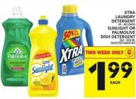Xtra Laundry Detergent Or Sunlight Or Palmolive Dish Detergent