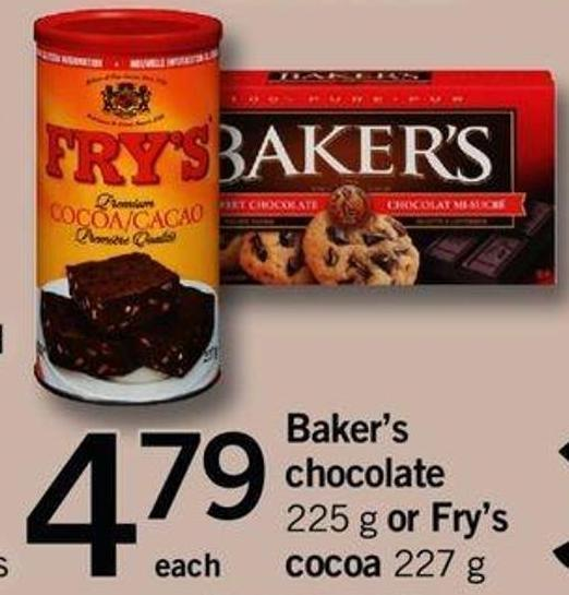 Baker's Chocolate - 225 G Or Fry's Cocoa - 227 G