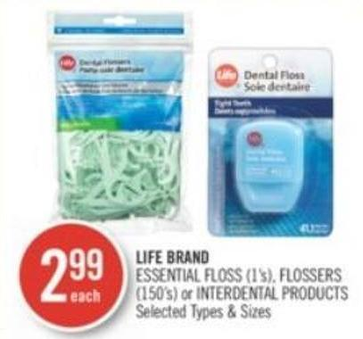 Life Brand Essential Floss (1's) - Flossers (150's) or Interdental Products