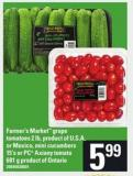 Farmer's Market Grape Tomatoes - 2 Lb - Mini Cucumbers - 15's Or PC Axiany Tomato - 681 G