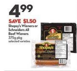 Shopsy's Wieners or Schneiders All Beef Wieners