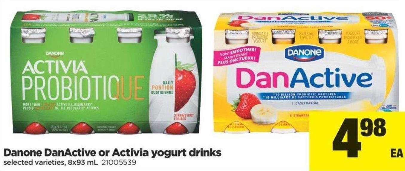 Danone Danactive Or Activia Yogurt Drinks - 8x93 mL