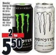 Monster Energy Drinks 405 - 550 ml - Or 2.89 Ea.