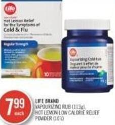Life Brand Vapourizing Rub (113 G) Hot Lemon Low Calorie Relief Powder (10's)