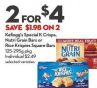 Kellogg's Special K Crisps -  Nutri Grain Bars or  Rice Krispies Square Bars 125-295g Pkg