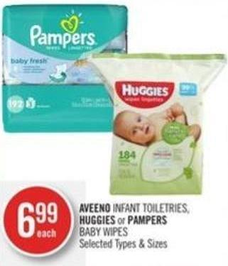 Aveeno Infant Toiletries - Huggies or Pampers Baby Wipes