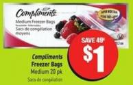 Compliments Freezer Bags Medium 20 Pk