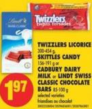 Twizzlers Licorice 300-454 g - Skittles Candy 156-191 g or Cadbury Dairy Milk or Lindt Swiss Classic Chocolate Bars 85-100 g