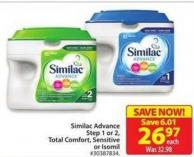 Similac Advance Step 1 or 2 - Total Comfort - Sensitive or Isomil