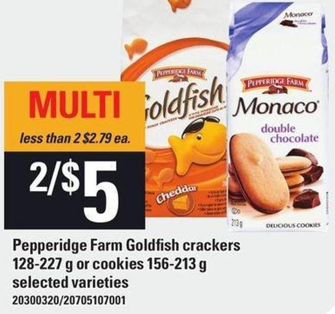 Pepperidge Farm Goldfish Crackers - 128-227 g Or Cookies - 156-213 g