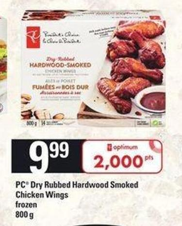 PC Dry Rubbed Hardwood Smoked Chicken Wings - 800 g