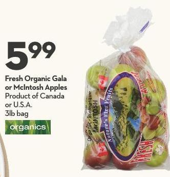 Fresh Organic Gala  or Mcintosh Apples