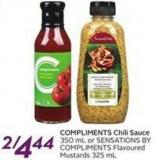 Compliments Chili Sauce 350 mL or Sensations Bycompliments Flavoured Mustards 325 mL