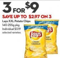 Lays Xxl Potato Chips 140-255g Pkg