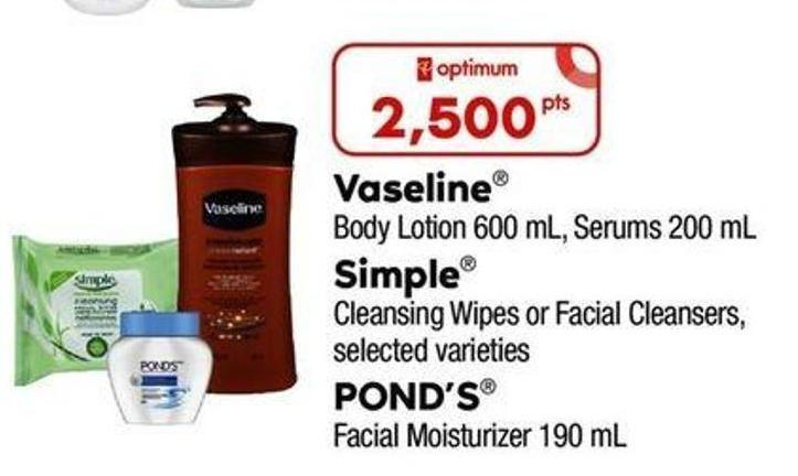 Vaseline Body Lotion 600 Ml - Serums - 200 Ml - Simple Cleansing Wipes Or Facial Cleansers - Pond's Facial Moisturizer - 190 Ml