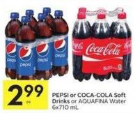 Pepsi or Coca-cola Soft Drinks or Aquafina Water 6x710 mL