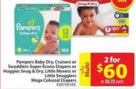 Pampers Baby Dry - Cruisers or Swaddlers Super Econo Diapers
