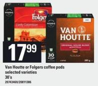 Keurig Van Houtte Or Folgers Coffee PODS - 30's